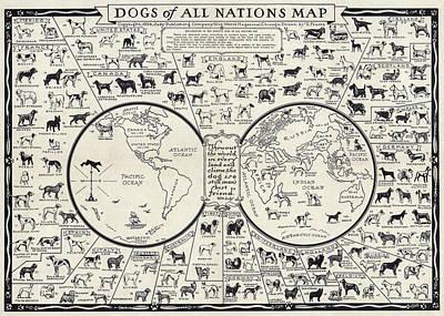 Dog Lovers Map 1936 Print by Daniel Hagerman