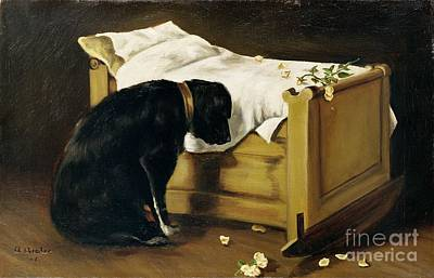 Dog Mourning Its Little Master Print by A Archer