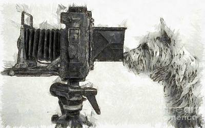 Camera Drawing - Dog Photographer Pencil by Edward Fielding
