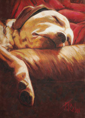 Dog Tired Print by Billie Colson