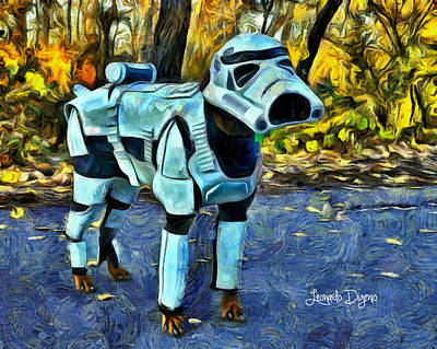 Dogs Painting - Dog Trooper by Leonardo Digenio