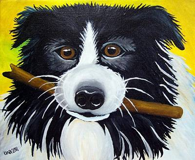 Dog Print by Una  Miller