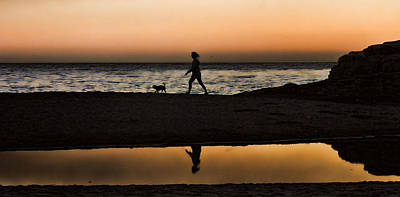 Dog Walker At Sunset Print by Grace Dillon