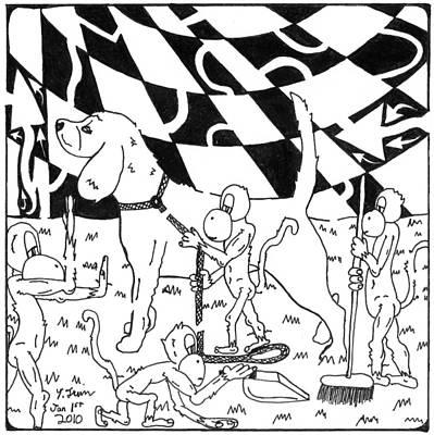 Frimer Drawing - Dog Walking Monkeys Maze By Yonatan Frimer by Yonatan Frimer Maze Artist