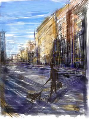 Dog Walking Digital Art - Dog Walks Man by Russell Pierce