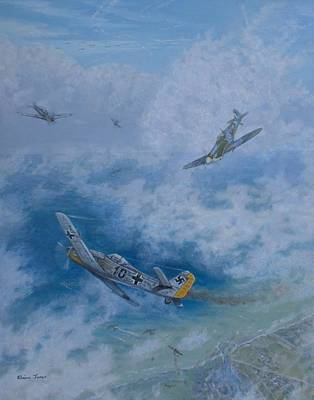 Dogfight Over Dieppe 19 August 1942 Print by Elaine Jones
