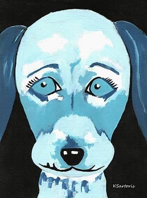 Portrait Painting - Doggie Blues by Kathleen Sartoris