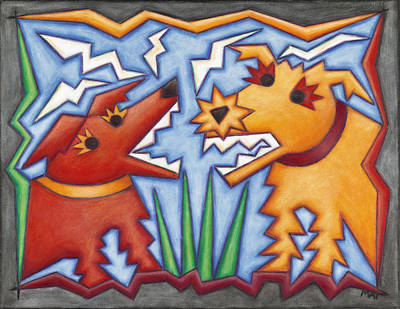 Barking Painting - Doggie Duet by Mary Anne Nagy