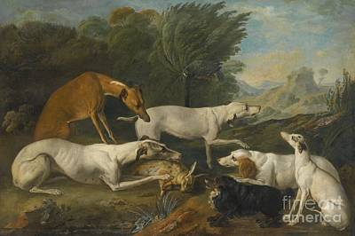 Dog In Landscape Painting - Dogs In A Landscape With Their Catch by Celestial Images