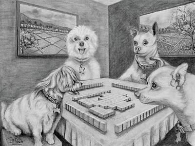 Filipino Drawing - Dogs Playing Mahjong by Cyril Maza