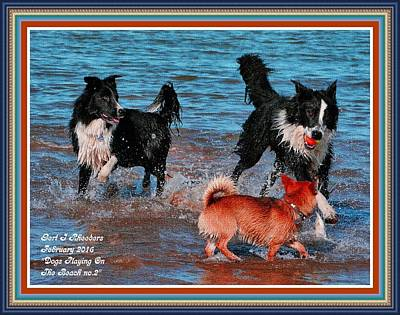 Dog Playing Ball Painting - Dogs Playing On The Beach No. 2 L A With Decorative Ornate Printed Frame. by Gert J Rheeders