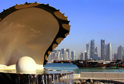 Doha Fountain Skyline And Harbour Print by Paul Cowan
