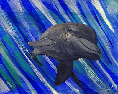 Fish Underwater Painting - Dolhpin by W Gilroy