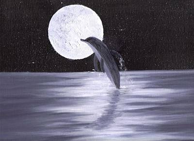 Stary Sky Painting - Dolphin Moon by Jim Saltis