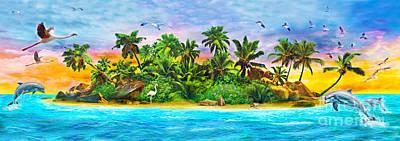 Desert Island Digital Art - Dolphin Paradise Island Variant 1 by Jan Patrik Krasny