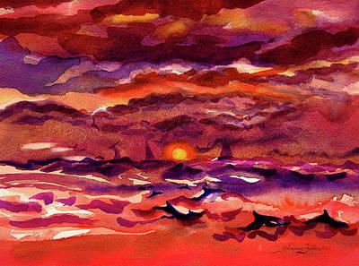 Painting - Dolphin Sunrise  by Julianne Felton