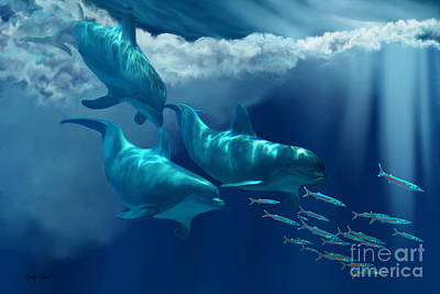 Dolphin World Print by Corey Ford