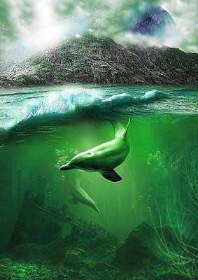 Swans Mixed Media - Dolphins by Svetlana Sewell
