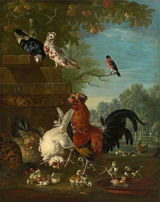 Hens And Chicks Painting - Domestic Cock Hens And Chicks In A Park by Peter Casteels