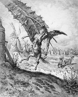 Joust Drawing - Don Quixote And The Windmills by Gustave Dore