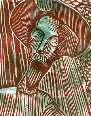 Don Quixote In Green And Brown Print by Sheryl Karas