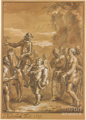 Don Quixote Painting - Don Quixote Orders The Freed Galley by John Vanderbank