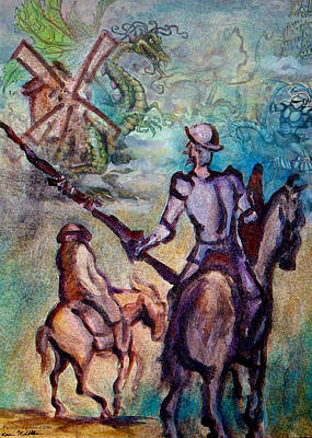 Don Quixote Painting - Don Quixote With Dragon by Kevin Middleton