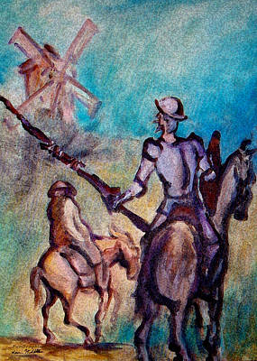 Don Quixote Painting - Don Quixote With Windmill by Kevin Middleton