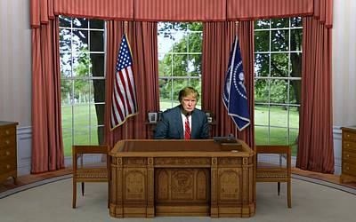 Donald Trump In The Oval Office Print by Movie Poster Prints