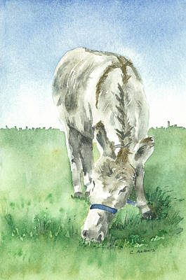 Donkey Watercolor Painting - Donkey In A Pasture by Corinne Aelbers