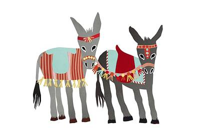 Quilts Painting - Donkeys by Isoebl Barber
