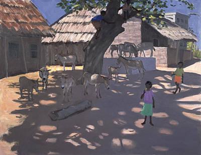 African Child Painting - Donkeys Lamu Kenya by Andrew Macara