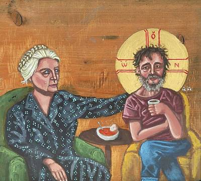 Iconography Painting - Don't Call Me A Saint- Dorothy Day With Homeless Christ by Kelly Latimore