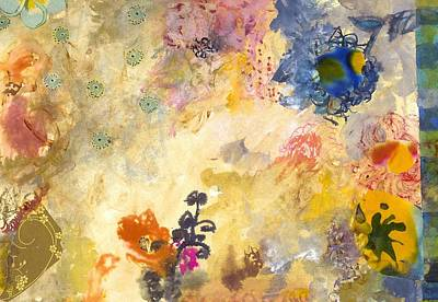 Abstract Collage Painting - Don't Send Me Flowers Iv by Gloria Von Sperling