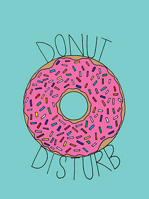 Strawberry Drawing - Donut Disturb by Elizabeth Davis