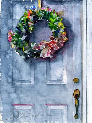 Door Wreath Print by John D Benson