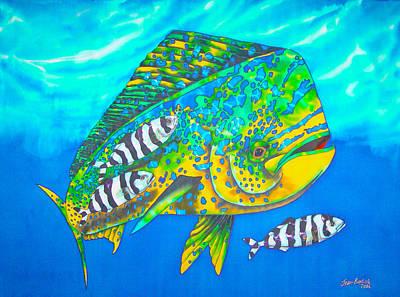 Batik Painting - Dorado And Pilot Fish - Mahi Mahi Fish by Daniel Jean-Baptiste