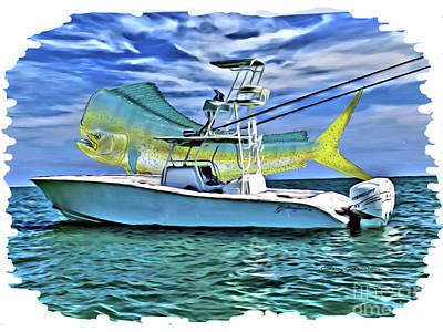 Boat Digital Art - Dorado Yellowfin by Carey Chen