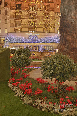 Dorchester Hotel At Christmas Print by Terri Waters