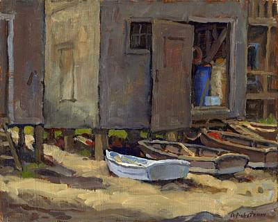 Dories On Fish Beach Original by Thor Wickstrom