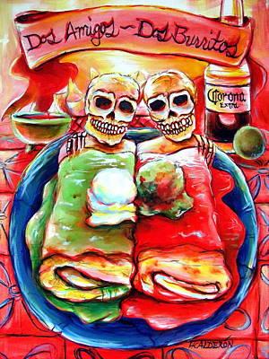 Day Of The Dead Painting - Dos Amigos Dos Burritos by Heather Calderon