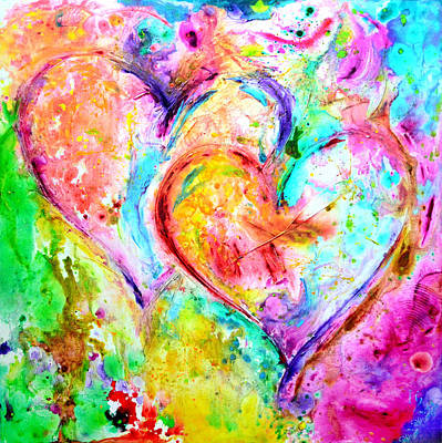 Family Love Painting - Dos Corazones by Ivan Guaderrama