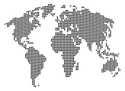 Dot Map Of The World - Black And White Print by Michael Tompsett