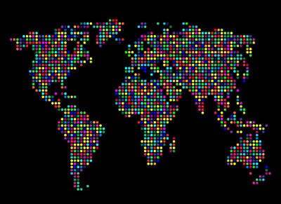Dot Map Of The World - Multi Colours Print by Michael Tompsett