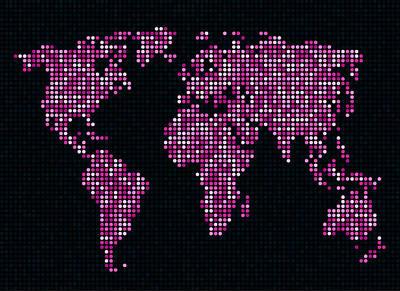 Dot Map Of The World - Pink Print by Michael Tompsett