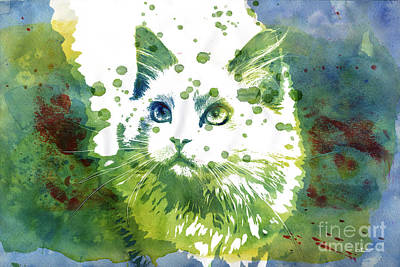 Dotted Cat Print by Jutta Maria Pusl