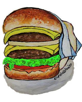 Cheeseburger Painting - Double Cheeseburger by Carol Tsiatsios