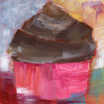 Double Chocolate Cupcake- Art By Linda Woods Print by Linda Woods