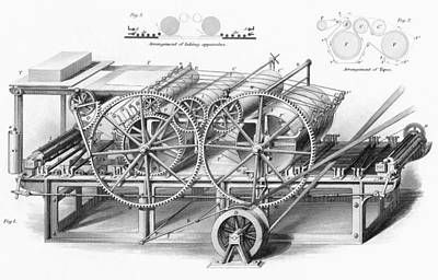Cylinders Drawing - Double Cylinder Printing Machine. From by Vintage Design Pics