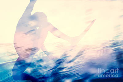 Athlete Photograph - Double Exposure Of A Surfer Surfing In The Ocean by Michal Bednarek